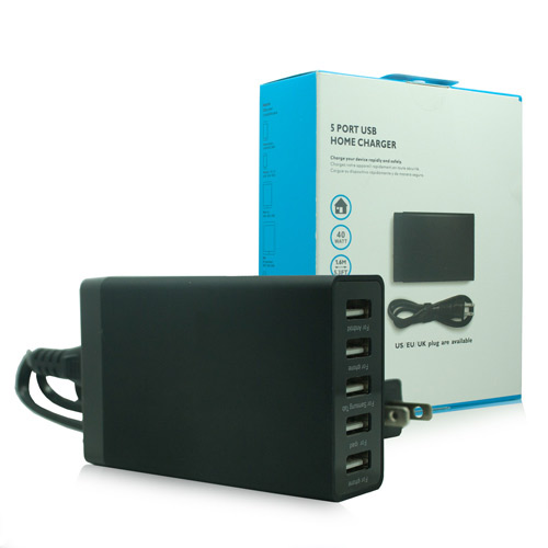 Black 5-Port USB Desktop Charging Station/Travel Wall Charger