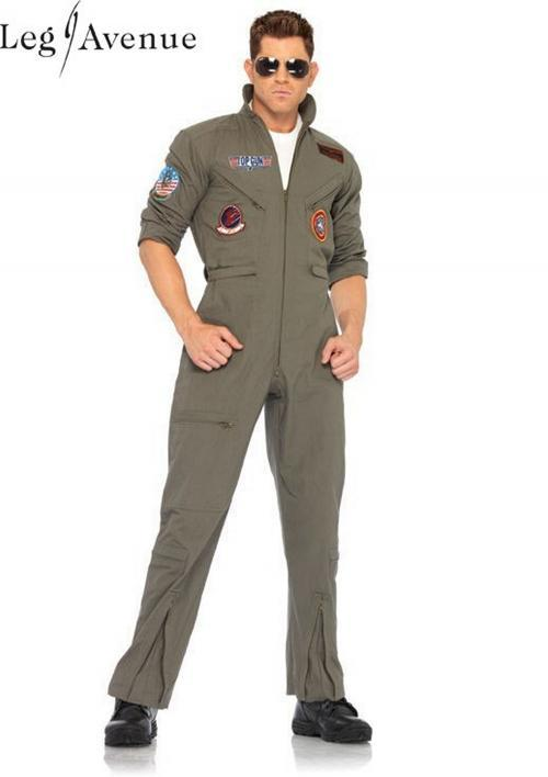 LegAvenue Halloween Costume Original Top Gun Men's Flight Zipper Front Dress w, Interchangeable Name Badges & Aviator Sunglasses TG83702