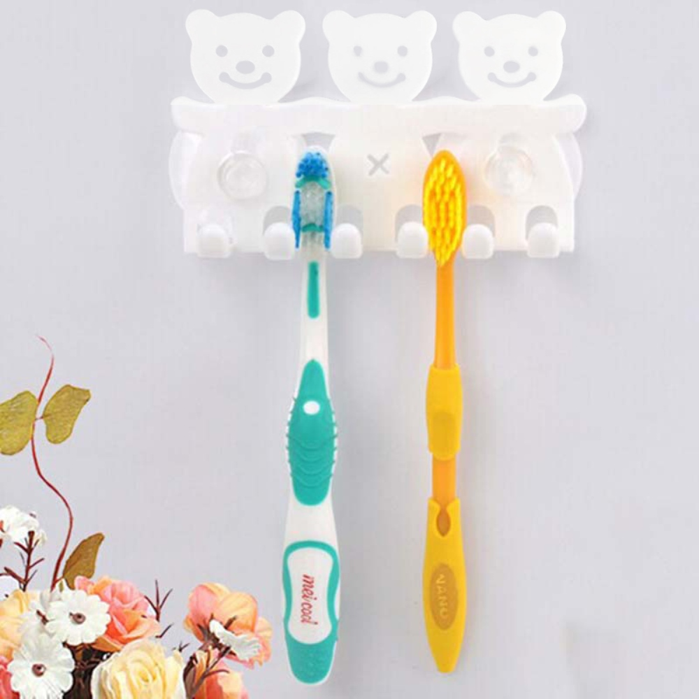 Toothbrush Holder, [White] 3 Bears Toothbrush Holder - Holds 3 Toothbrushes & Suctions to the Mirror!