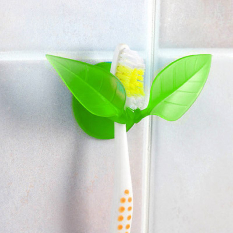 Toothbrush Holder, [Green] Leaf Toothbrush Holder - Holds Your Toothbrush & Suctions to the Mirror!