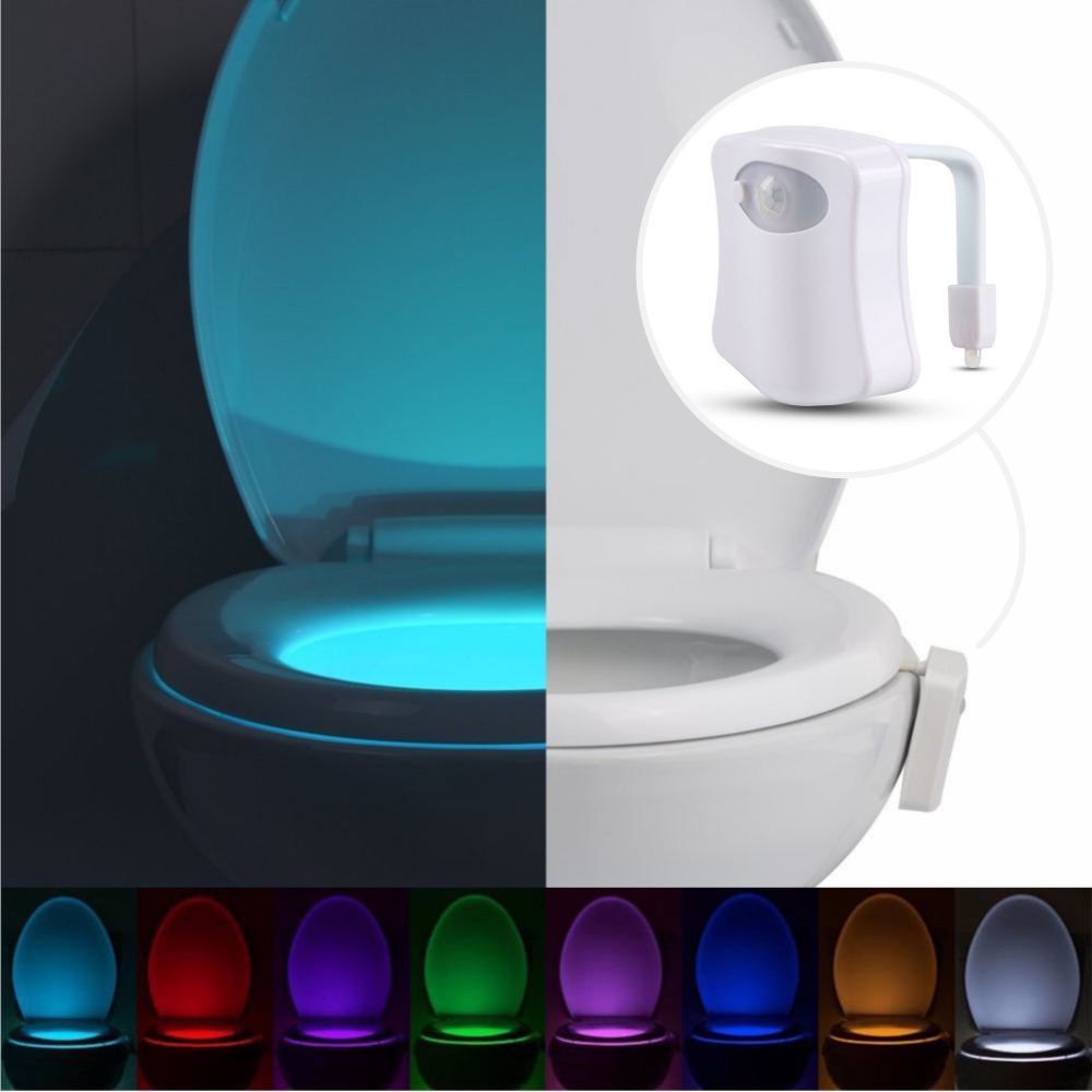 Eutuxia Toilet Bowl Night Light with Motion & Light Detection Sensor. 8-Color Changing LED with 2 Modes to Illuminate the Bathroom in the Dark. Adjustable to Fit Any Size. Easy to Use & Setup.