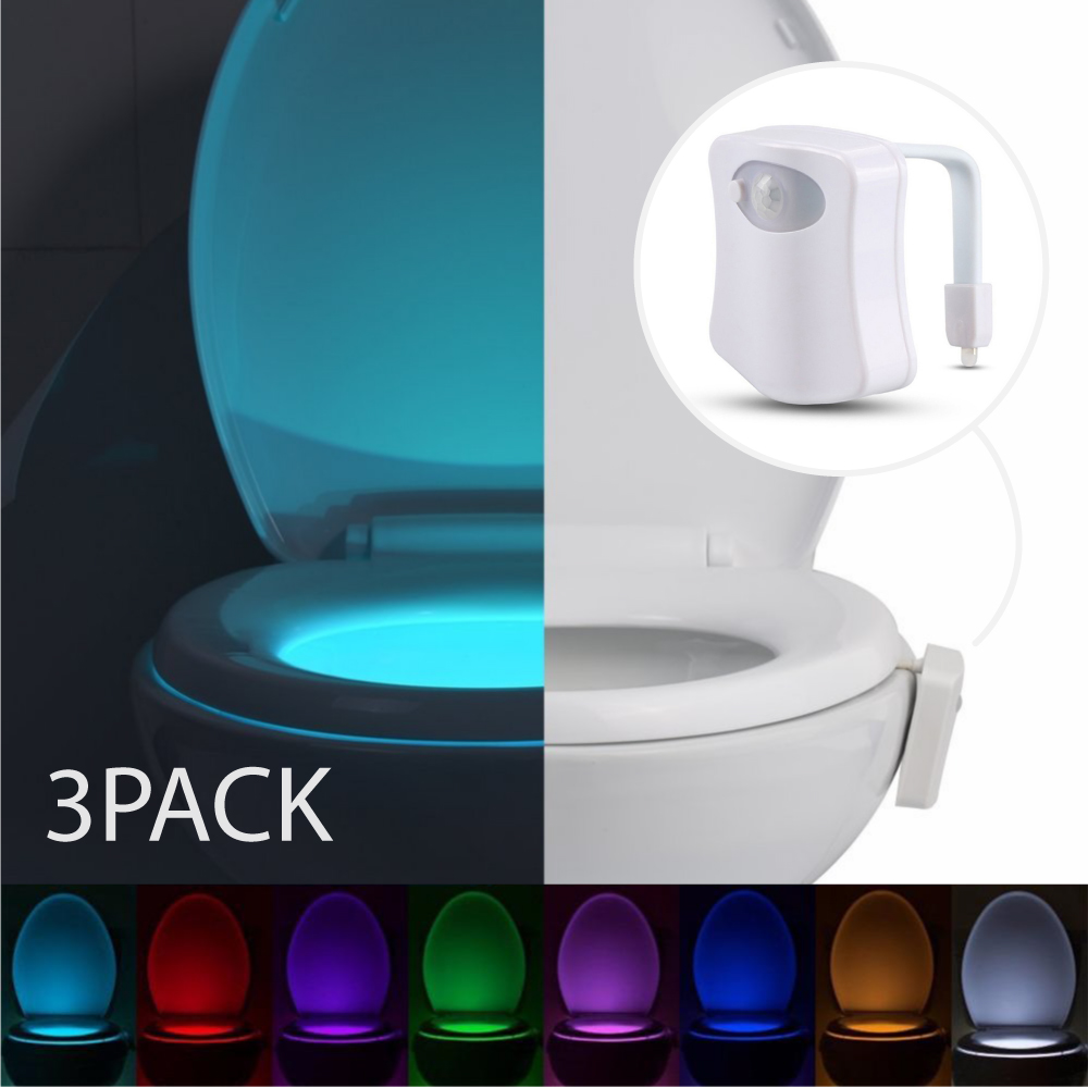 Eutuxia Toilet Bowl Night Light with Motion & Light Detection Sensor. 8-Color Changing LED with 2 Modes to Illuminate the Bathroom in the Dark. Adjustable to Fit Any Size. Easy to Use & Setup. [3 PK]