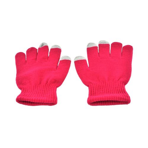 Universal Capacitive Touch Screen Gloves (One Size) - Raspberry/ Gray