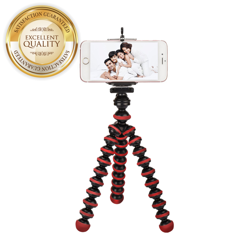 RED SHIELD Mini Tripod with Flexible Octopus Legs & Adjustable Phone Mount Adapter Bundle. Compatible with Most Smartphones, GoPros, and Digital Cameras. Take Perfect Selfies & Photos Easily. [Red]