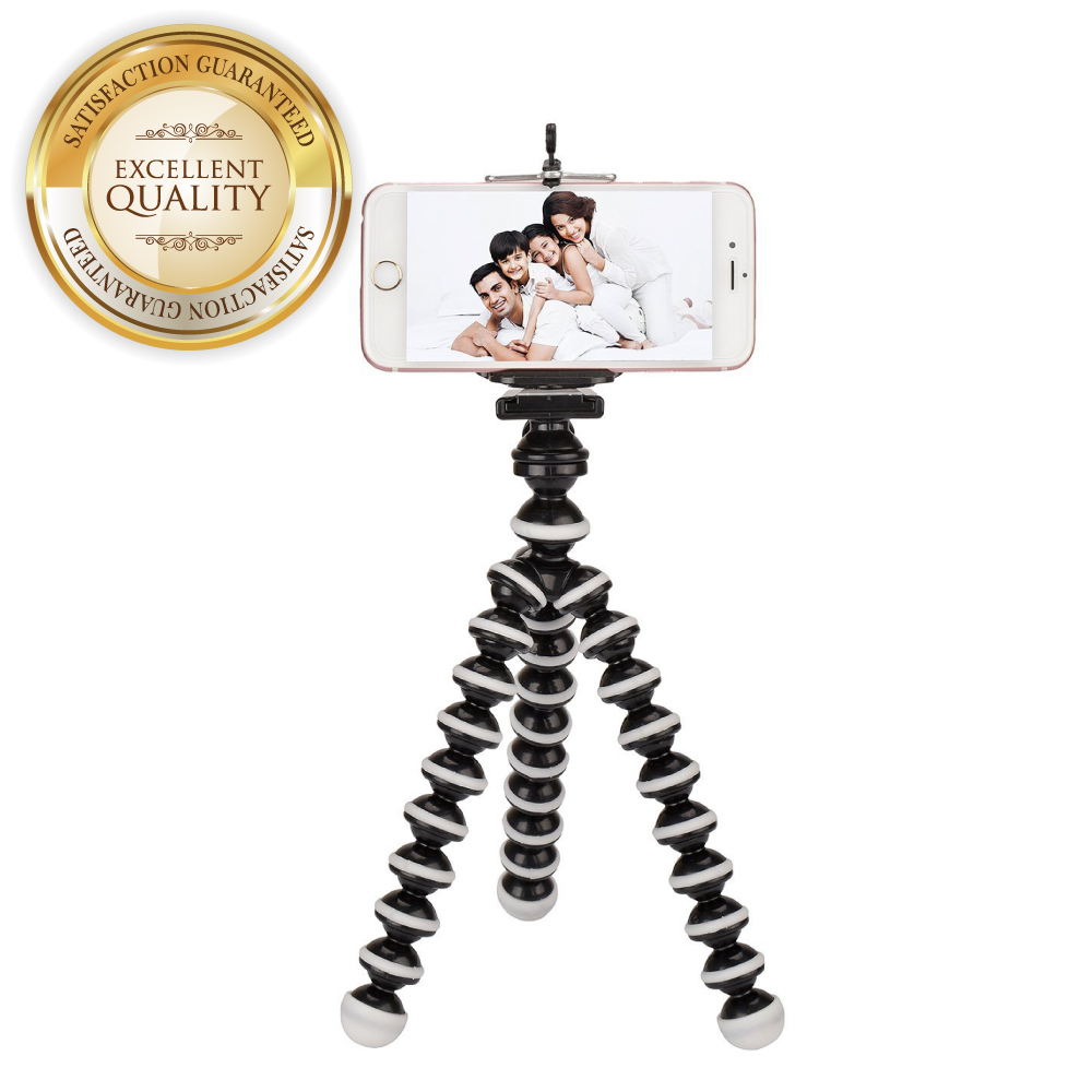 RED SHIELD Mini Tripod with Flexible Octopus Legs & Adjustable Phone Mount Adapter Bundle. Compatible with Most Smartphones, GoPros, and Digital Cameras. Take Perfect Selfies & Photos Easily. [White]