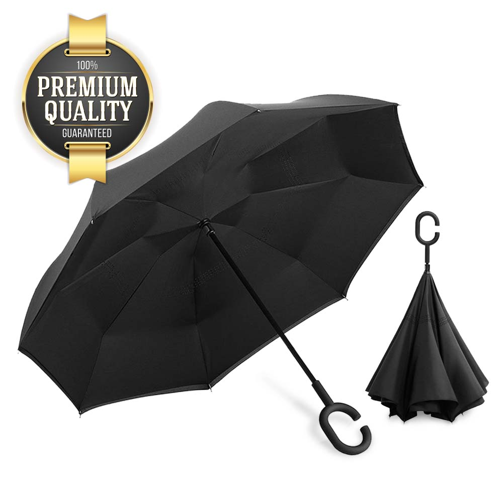 Eutuxia Double Layer Inverted Umbrella with Convenient C-Shaped Handle.