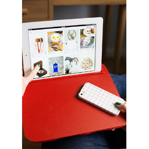 Kikkerland Red Comfortable iBed Portable Lap Desk for Tablets and Phablets