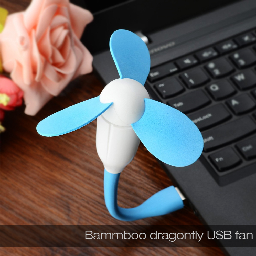 Blue USB Mini Fan w/ Safe to Touch EVA Foam Blades