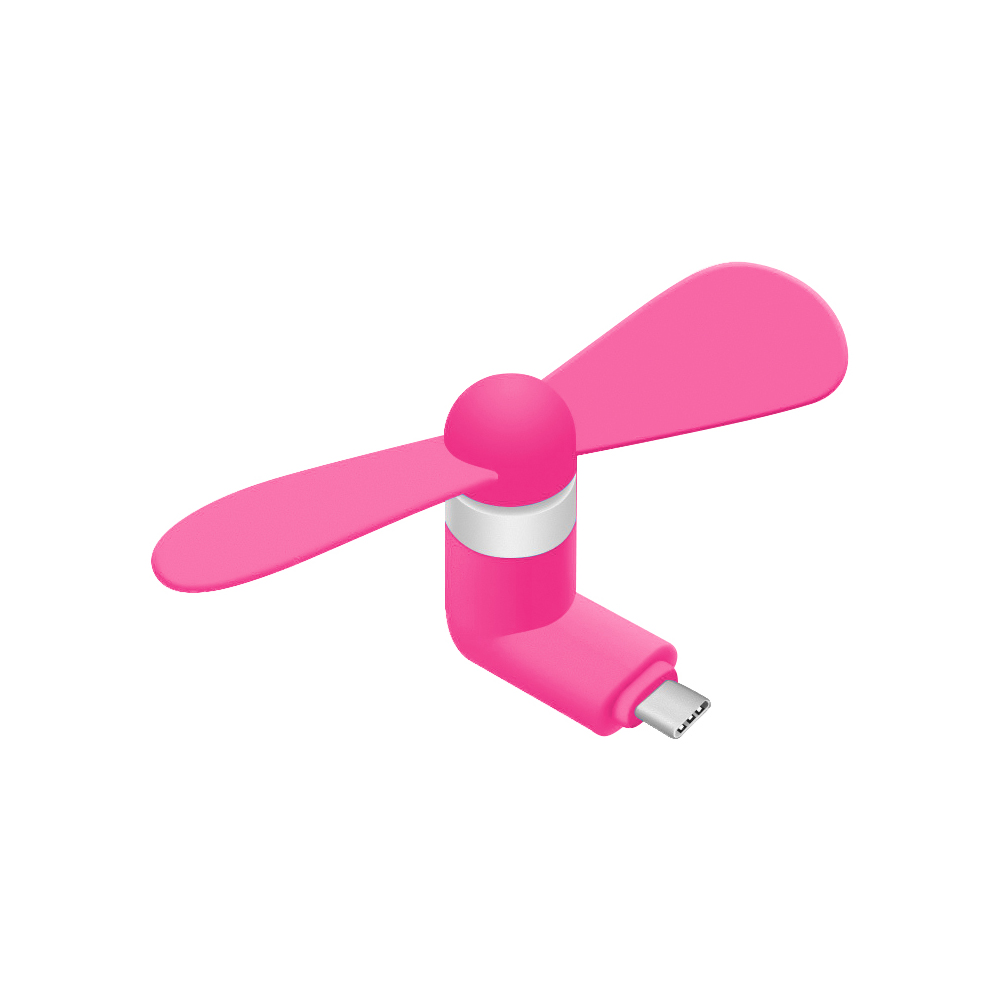 Portable USB Type-C Cooling Fan [Hot Pink] - Use Your Phone [Samsung Galaxy S8/S8 Plus, LG G6, OnePlus 5 and MORE!] to Keep Cool!