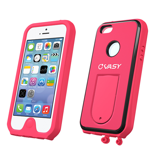 Made for Apple iPhone SE / 5 / 5S  Case, VASY [Hot Pink]  Waterproof/ Dustproof/ Dirt Proof Protective Hard Case w/ Kickstand Lanyard - Perfect Alternative to LifeProof! by Vasy