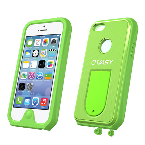 Apple iPhone SE / 5 / 5S  Case, VASY [Lime Green]  Waterproof/ Dustproof/ Dirt Proof Protective Hard Case w/ Kickstand & Lanyard - Perfect Alternative to LifeProof!