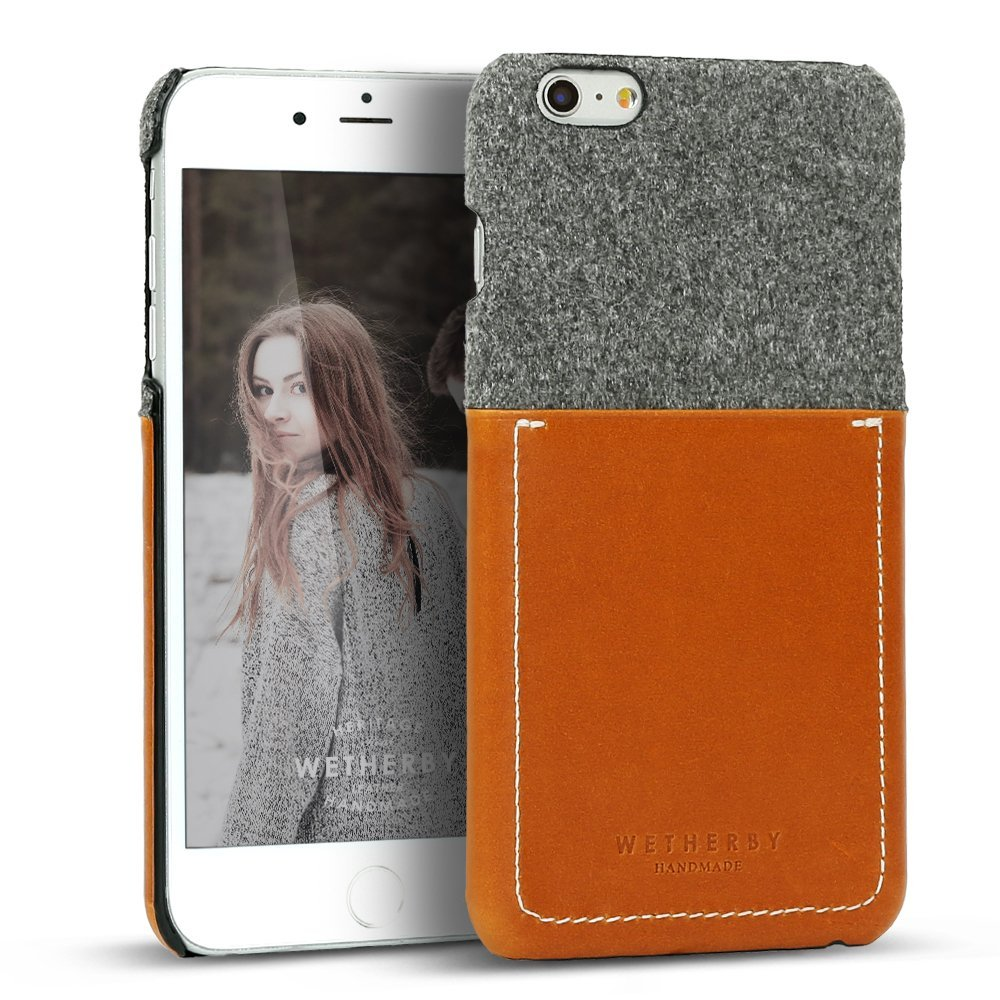 Apple iPhone 6 Plus/6S Plus (5.5 inch) Case, Wetherby Bar-Type [Gray/ Brown]  100% Handcrafted ID Credit Card Storage Genuine Cow Leather Hard Case