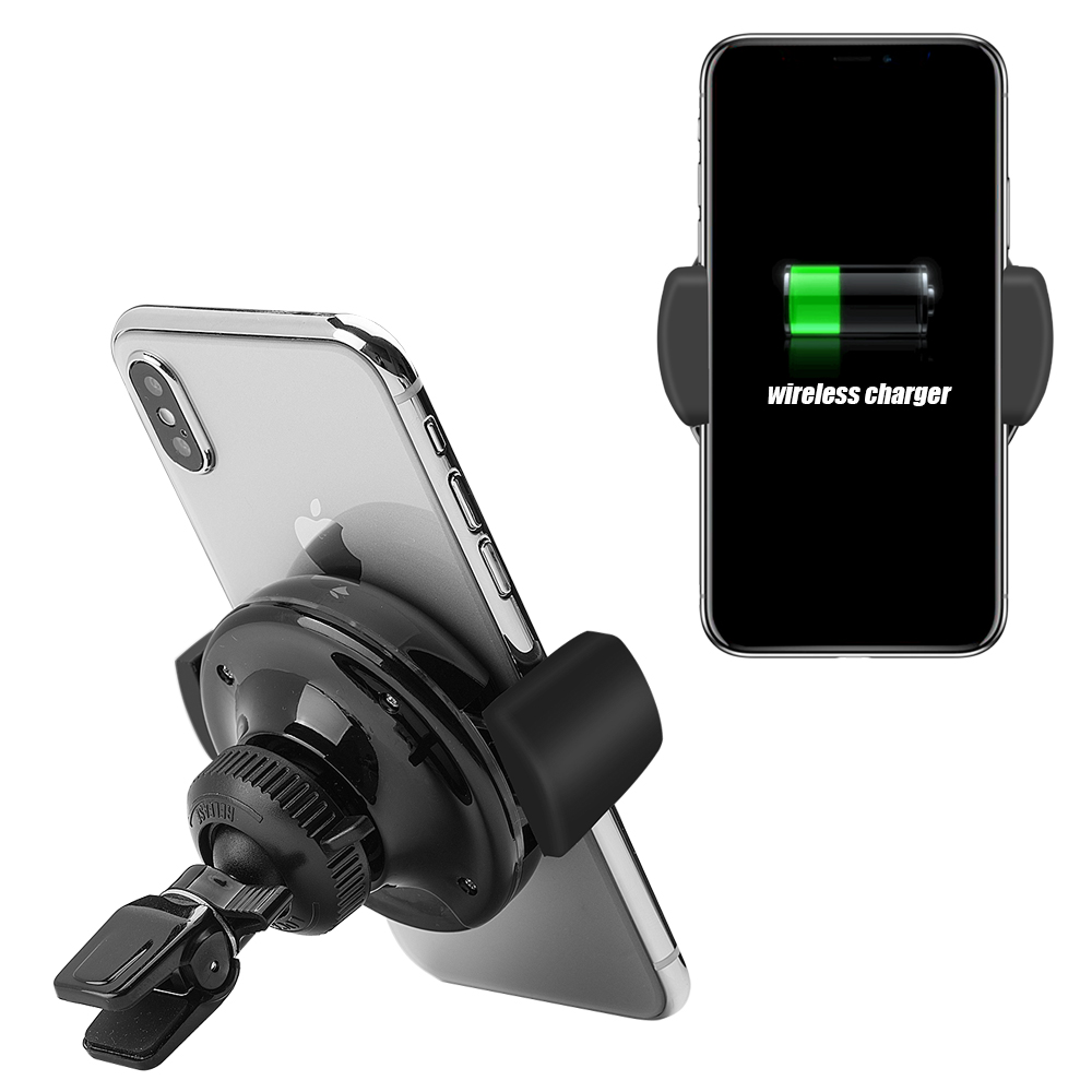 Wireless Qi Charger, [Black] Car Air Vent Mount Holder W/ Integrated Qi Charger for Apple iPhone X/ 8/ 8 Plus, Samsung Galaxy Note 8/ Galaxy S8 & S8 Plus, and All Other Qi-Enabled Devices