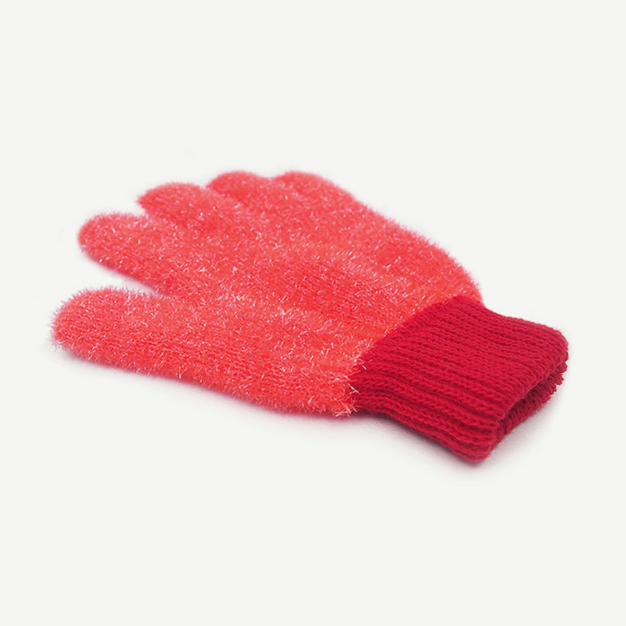 Polyester Washing Glove, 1 Unit [Hot Pink / Mitten] Antimicrobial Multi-Purpose Cleaning Tool for Kitchen, Bathroom, Surface Stains