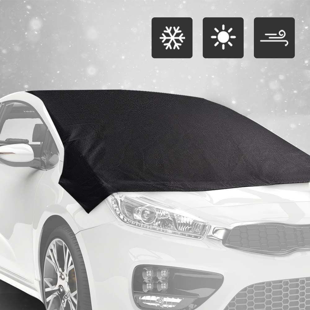 Windshield Snow Cover - Ice Sun Frost and Wind Proof in All Weather, Fits for Most Vehicles, Comes With Storage Pouch