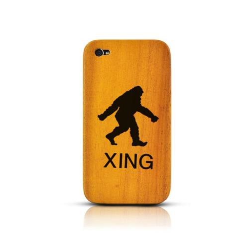 TPhone Eco-Design AT&T/ Verizon Apple iPhone 4, iPhone 4S 100% Teak Hard Wood Back Cover Case w/ Screen Protector - Bigfoot X-ing [ENGRAVING]