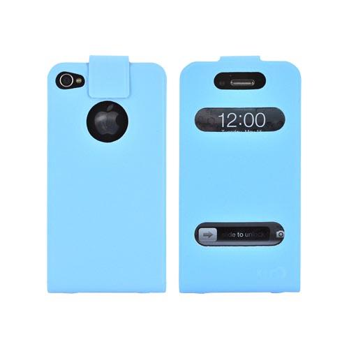 Original Kroo USA AT&T/ Verizon Apple iPhone 4,iPhone 4S DASH Leather Flip Case w/ Soft Touch Finish & Slim Adhesive Fit, MIP4DPB1 - Baby Blue