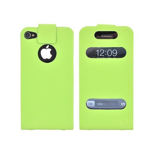 Original Kroo USA AT&T/ Verizon Apple iPhone 4,iPhone 4S DASH Leather Flip Case w/ Soft Touch Finish & Slim Adhesive Fit, MIP4DPG1 - Lime Green