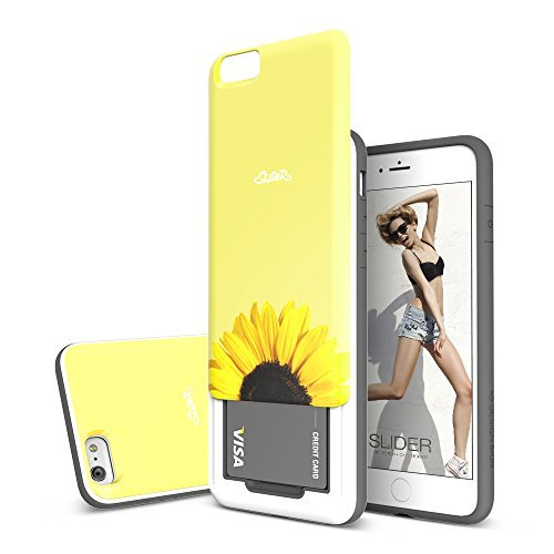 Apple iPhone 6/6S (4.7 inch) Case, DesignSkin [SLIDER] : Sliding ID Credit Card Slot (2 cards) 3-Layer PC TPU Bumper Protection Soft and Hard Cover Case [Sunflower]