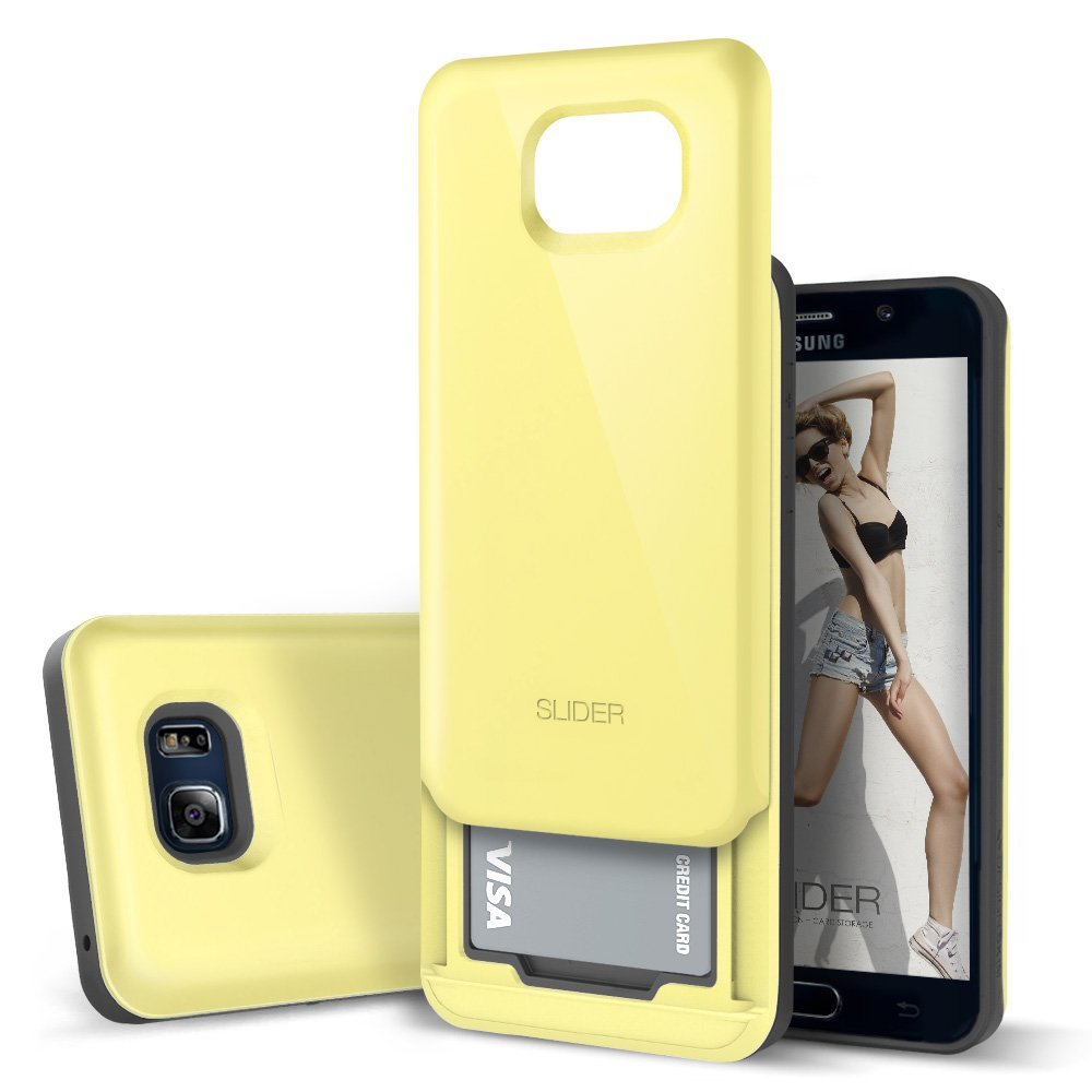 Samsung Galaxy Note 5 Case, DesignSkin [SLIDER] : [TPU + PC] Bumper Protection Case with Two Embedded Credit Card Storage Case [Lemon Yellow]