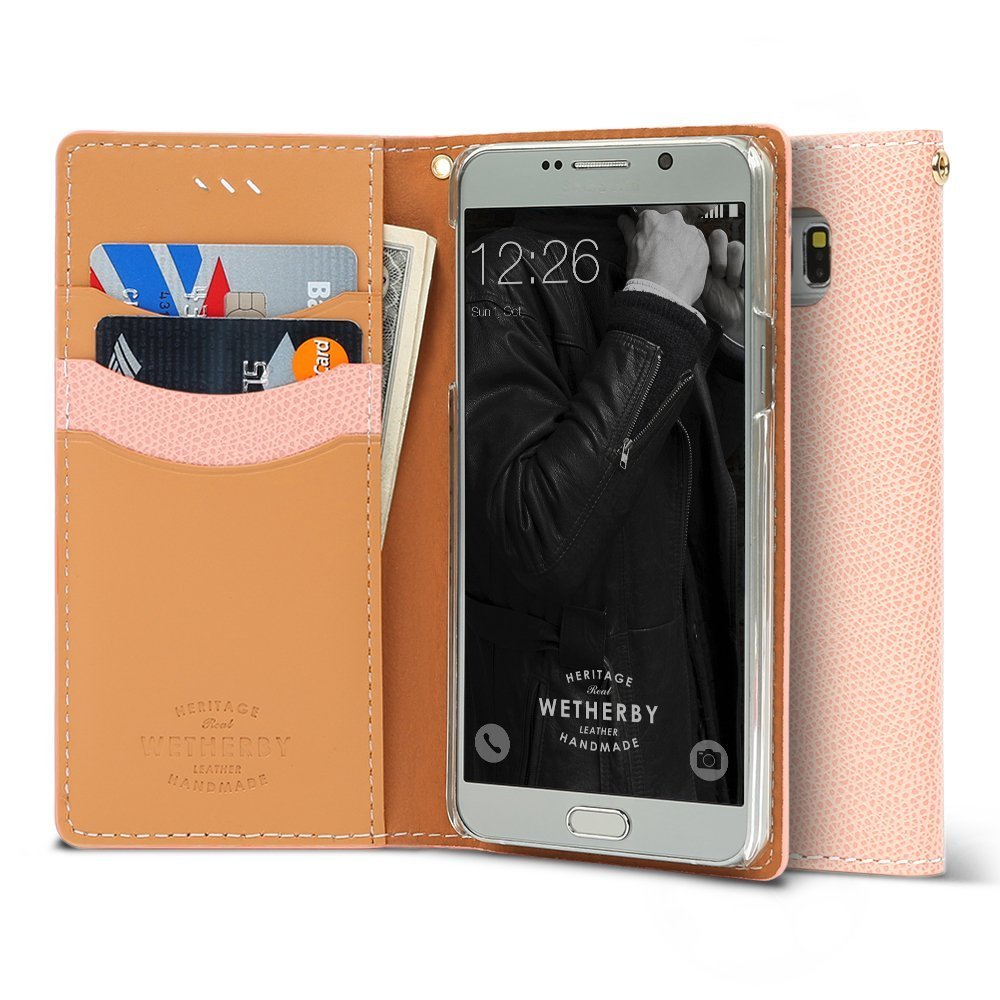 Samsung Galaxy S7 Case, DesignSkin Wetherby Classic Basic: Premium [100% HANDMADE GENUINE LEATHER] Wallet Flip Folio Unique Style Cover Card Slot Cash Pockets Strap Hole [Baby Pink]