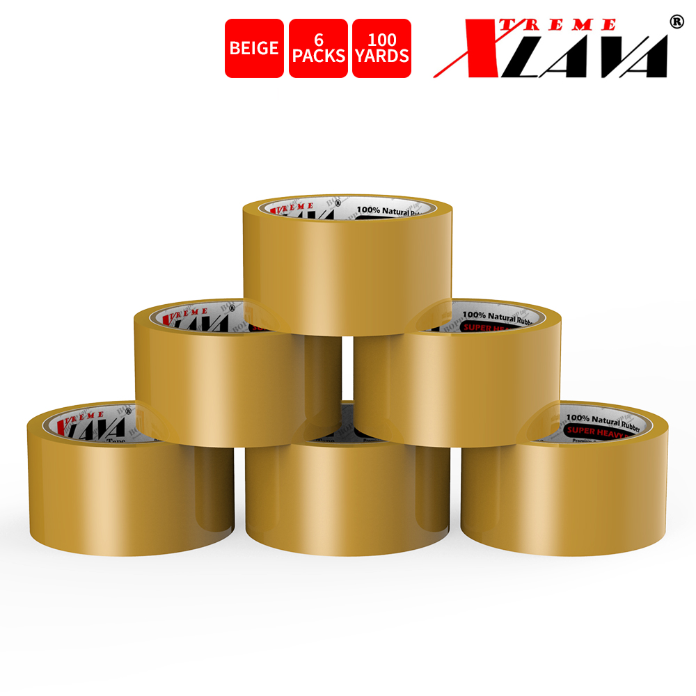 Natural Rubber Tape, 6 Rolls of Commercial Grade [XLava Tape - BEIGE] Value Bundle for Cold Storage Packaging Industry [2.0 Inches x 100 Yards]