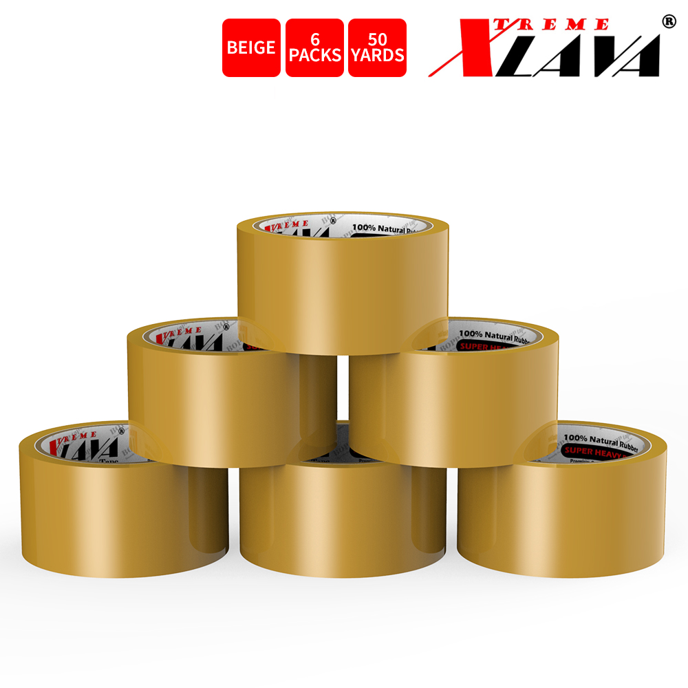 Natural Rubber Tape, 6 Rolls of Commercial Grade [XLava Tape - BEIGE] Value Bundle for Cold Storage Packaging Industry [2.0 Inches x 50 Yards]