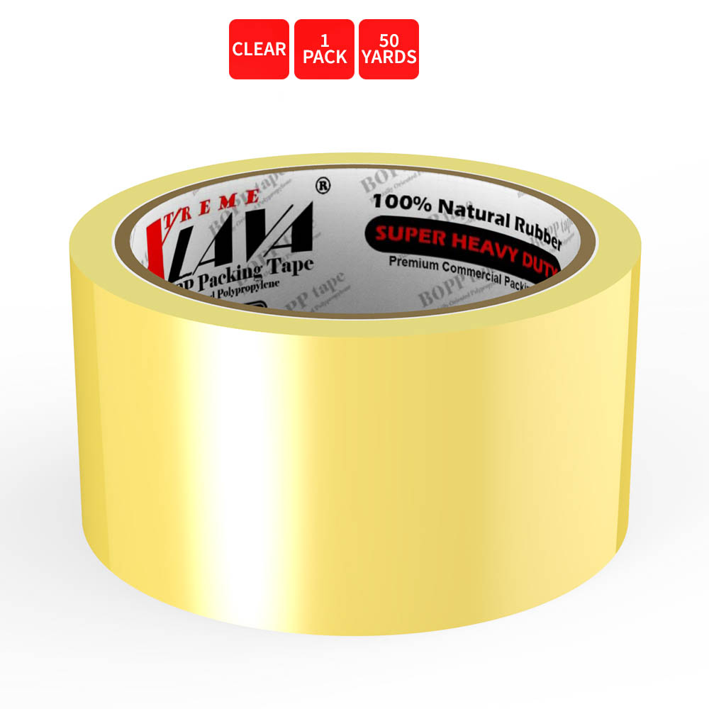 Natural Rubber Tape, 1 Roll of Commercial Grade [XLava Tape - GOLD CLEAR] Value Bundle for Cold Storage Packaging Industry [2.0 Inches x 50 Yards]