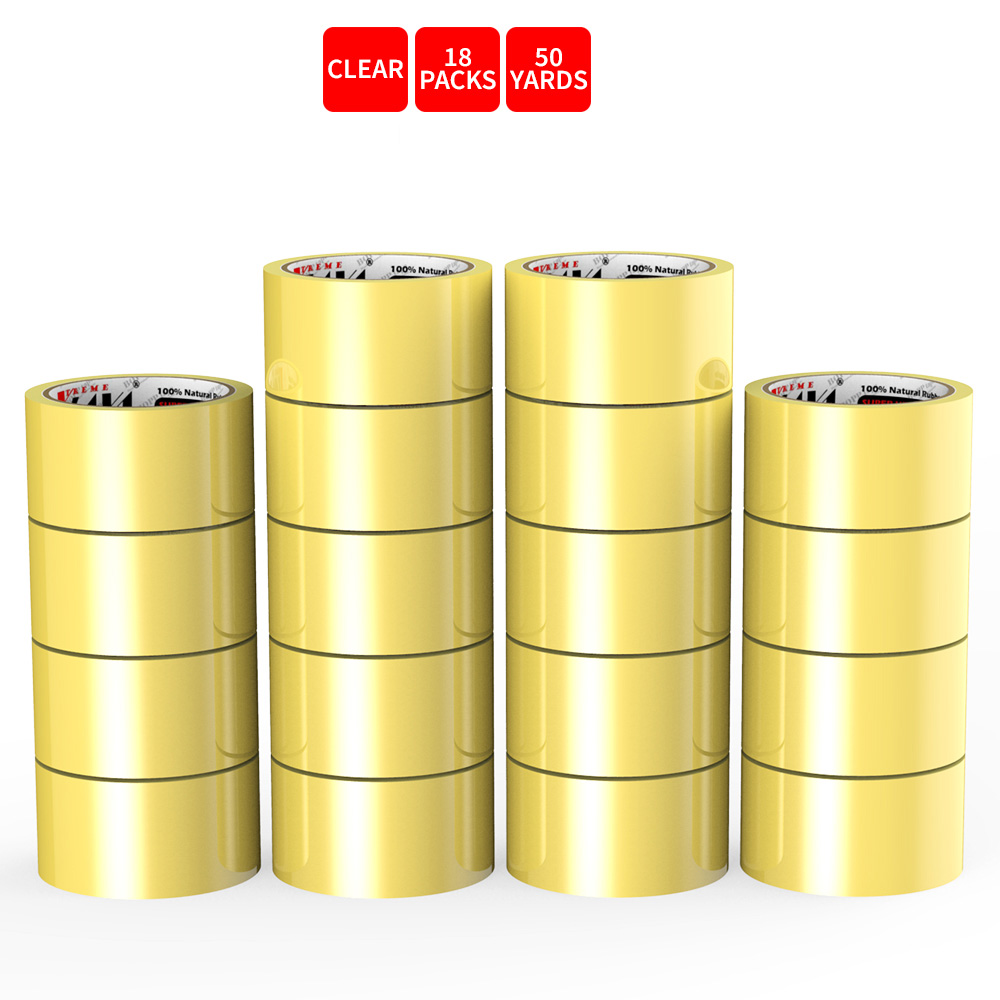 Natural Rubber Tape, 18 Rolls of Commercial Grade [XLava Tape - GOLD CLEAR] Value Bundle for Cold Storage Packaging Industry [2.0 Inches x 50 Yards]